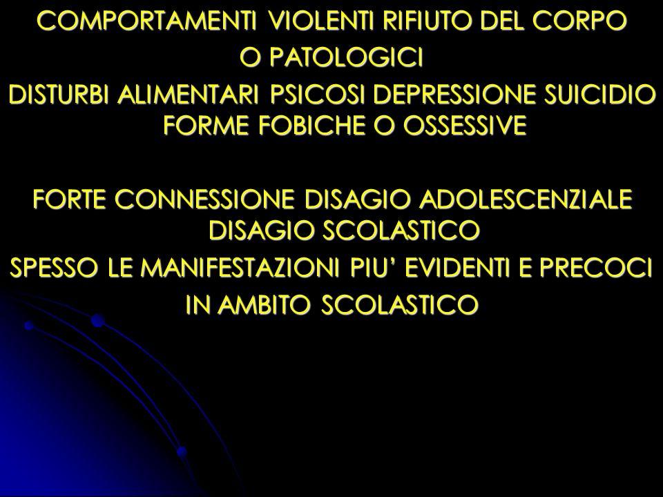 COMPORTAMENTI VIOLENTI RIFIUTO DEL CORPO O PATOLOGICI
