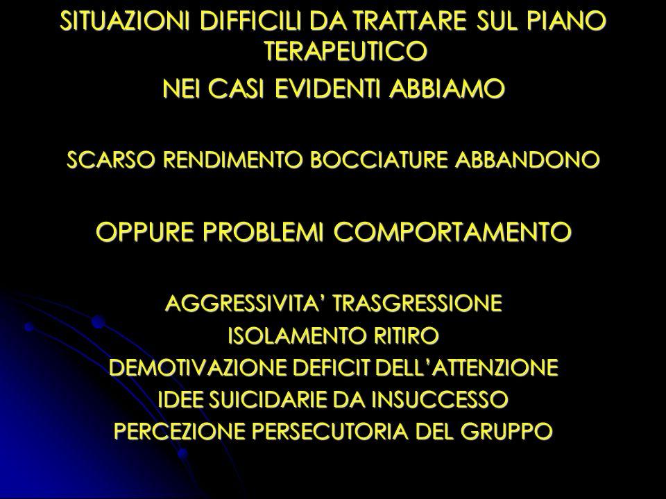 SITUAZIONI DIFFICILI DA TRATTARE SUL PIANO TERAPEUTICO
