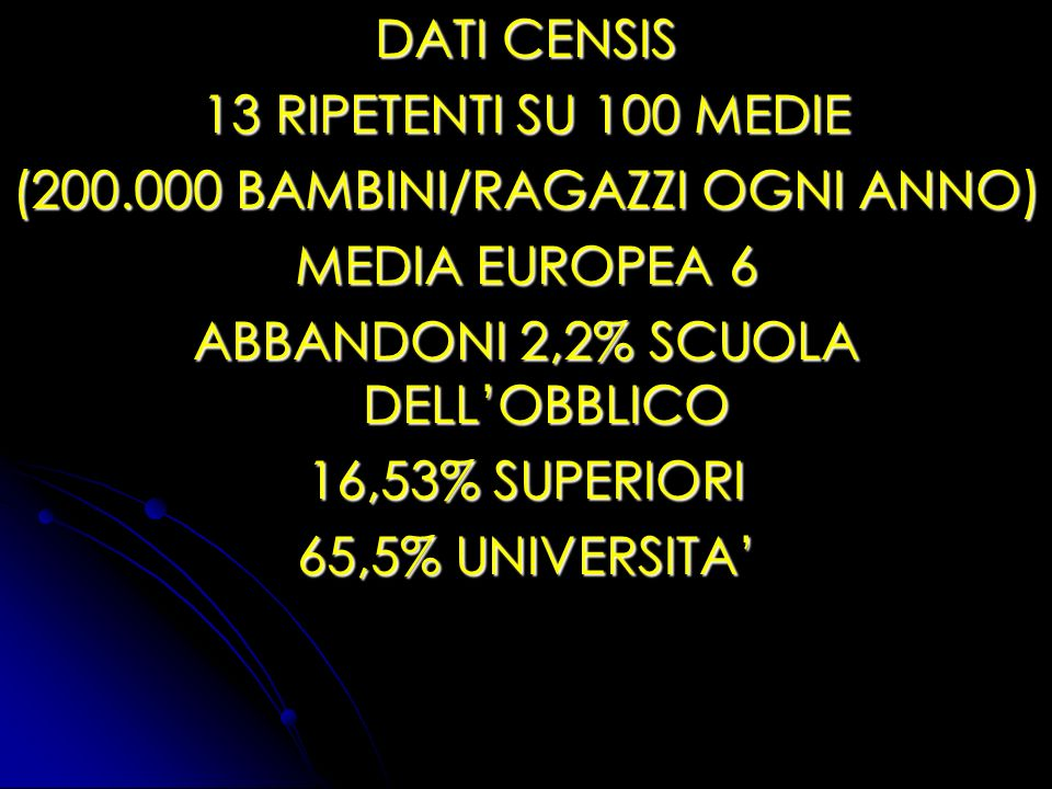 (200.000 BAMBINI/RAGAZZI OGNI ANNO) MEDIA EUROPEA 6