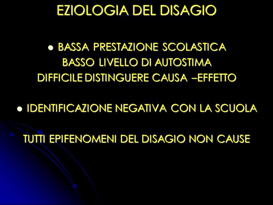 EZIOLOGIA DEL DISAGIO BASSA PRESTAZIONE SCOLASTICA