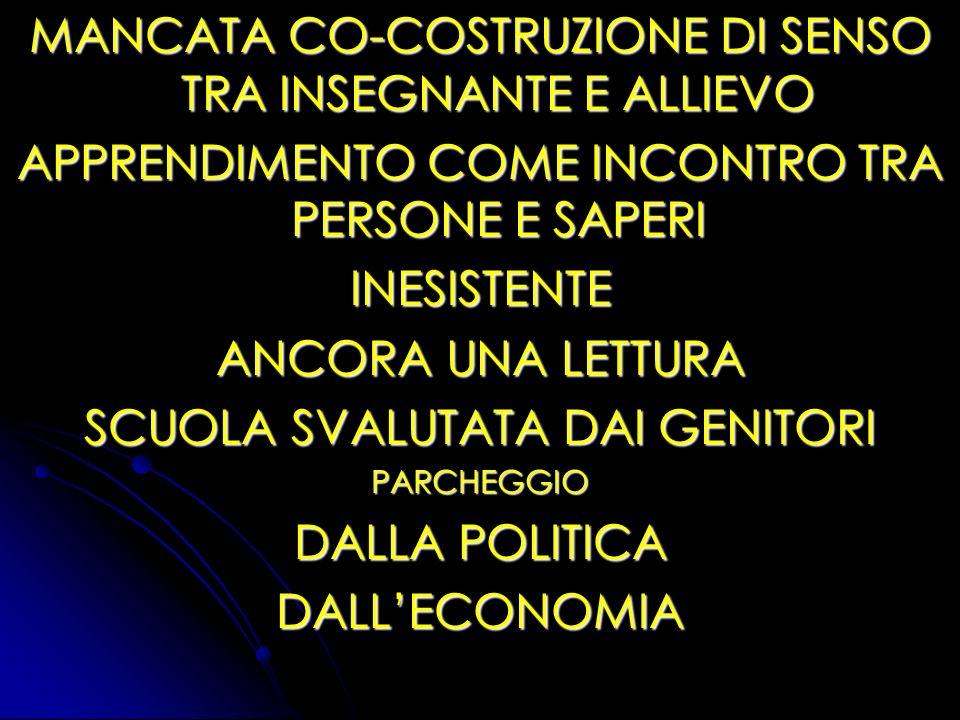 MANCATA CO-COSTRUZIONE DI SENSO TRA INSEGNANTE E ALLIEVO