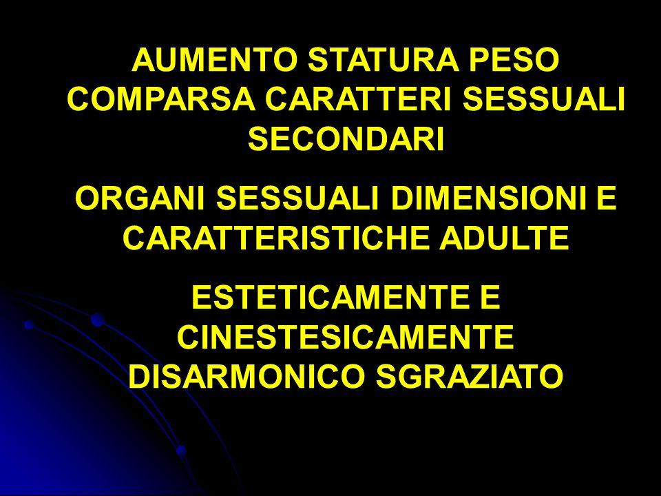 AUMENTO STATURA PESO COMPARSA CARATTERI SESSUALI SECONDARI