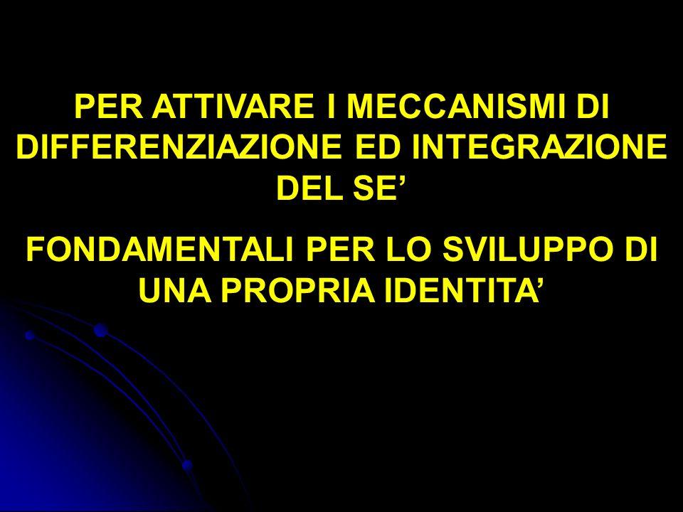 PER ATTIVARE I MECCANISMI DI DIFFERENZIAZIONE ED INTEGRAZIONE DEL SE'