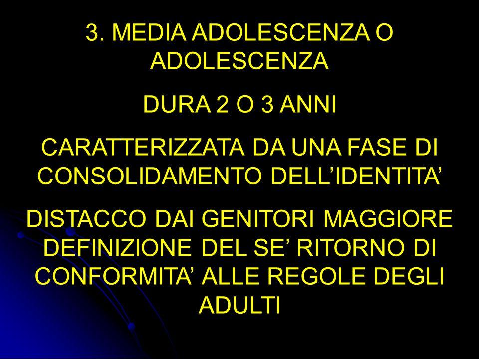 3. MEDIA ADOLESCENZA O ADOLESCENZA DURA 2 O 3 ANNI