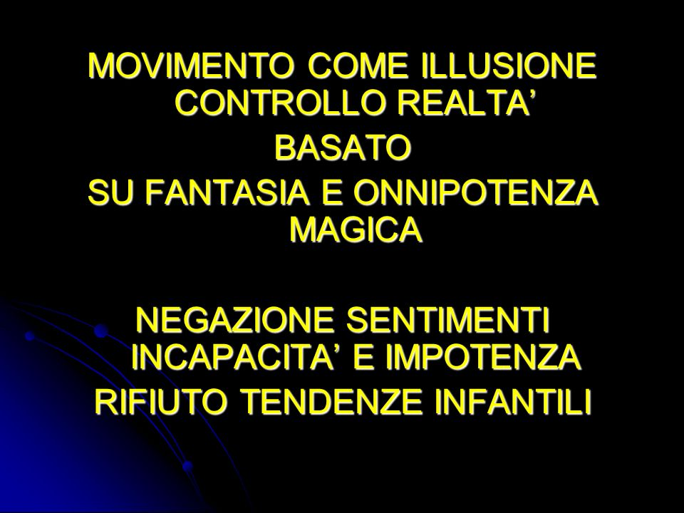 MOVIMENTO COME ILLUSIONE CONTROLLO REALTA' BASATO