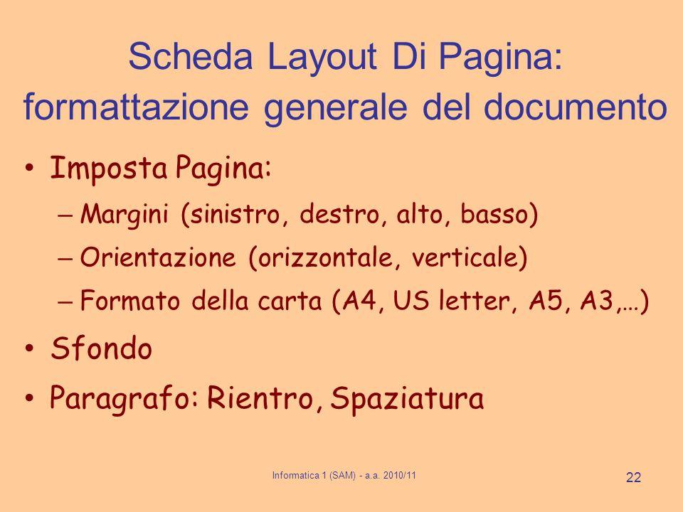 Scheda Layout Di Pagina: formattazione generale del documento