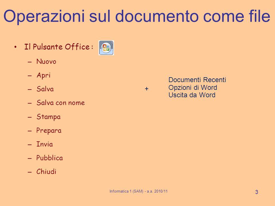 Operazioni sul documento come file