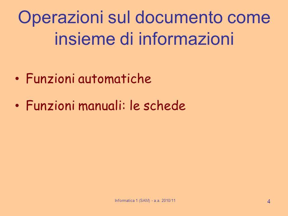Operazioni sul documento come insieme di informazioni