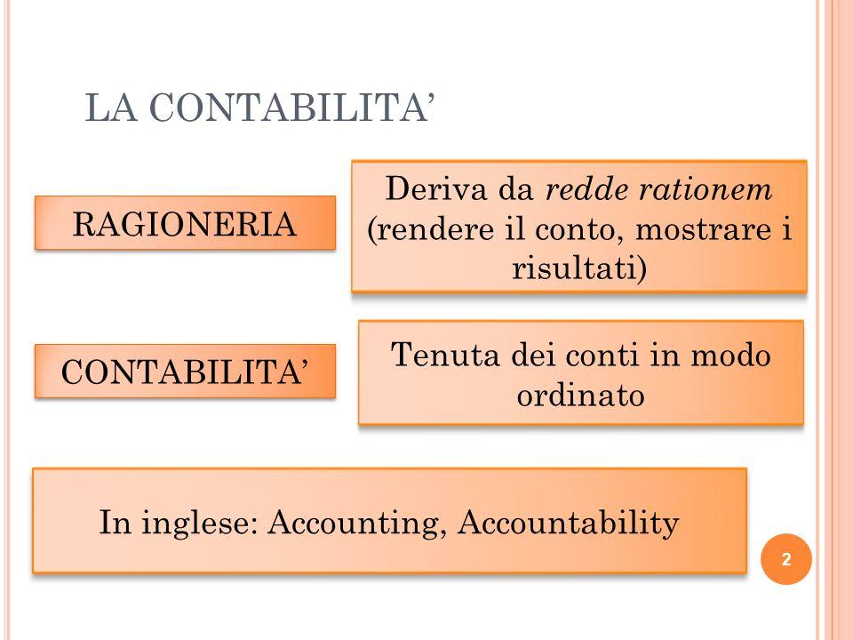 LA CONTABILITA' Deriva da redde rationem (rendere il conto, mostrare i risultati) RAGIONERIA. Tenuta dei conti in modo ordinato.