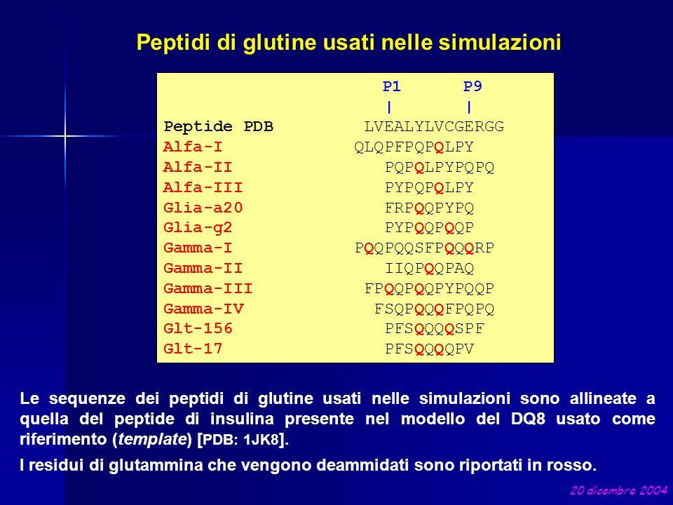 Peptidi di glutine usati nelle simulazioni