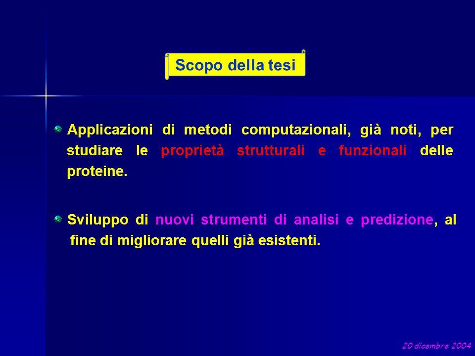 Scopo della tesi Applicazioni di metodi computazionali, già noti, per studiare le proprietà strutturali e funzionali delle proteine.