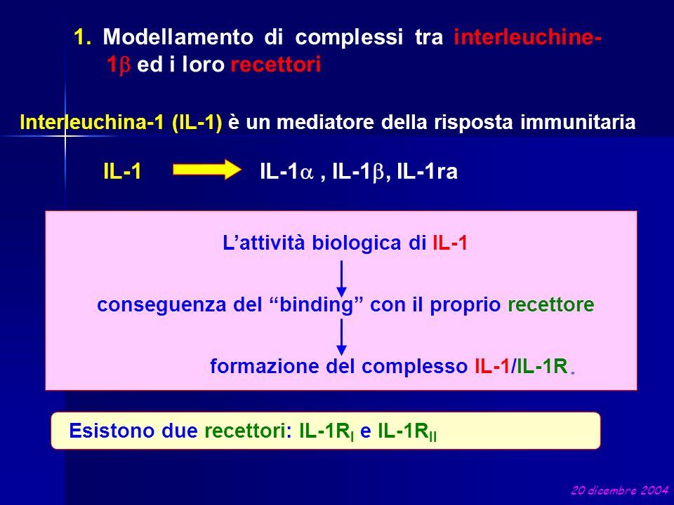 1. Modellamento di complessi tra interleuchine-1b ed i loro recettori
