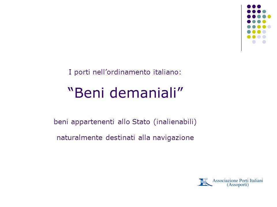 I porti nell'ordinamento italiano: Beni demaniali beni appartenenti allo Stato (inalienabili) naturalmente destinati alla navigazione