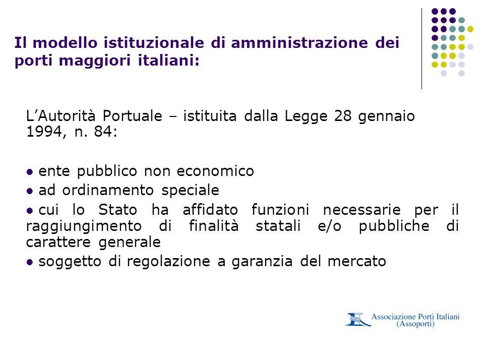 Il modello istituzionale di amministrazione dei porti maggiori italiani:
