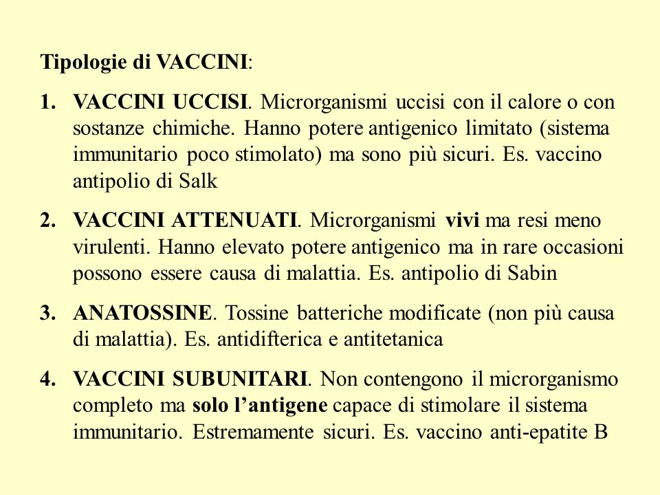 Tipologie di VACCINI: