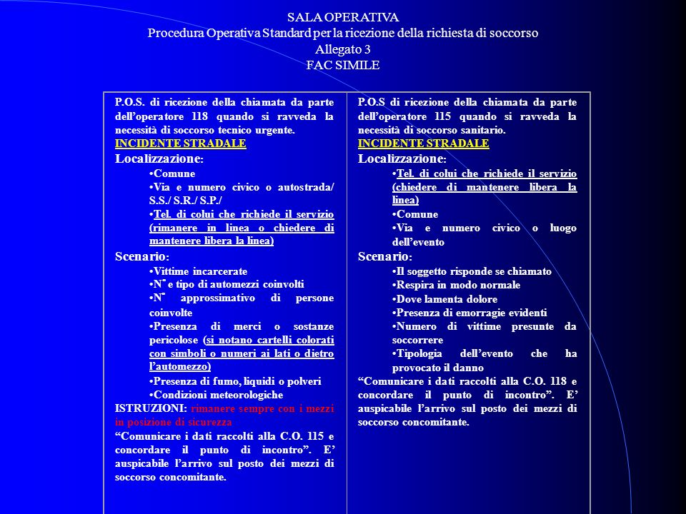 SALA OPERATIVA Procedura Operativa Standard per la ricezione della richiesta di soccorso. Allegato 3.
