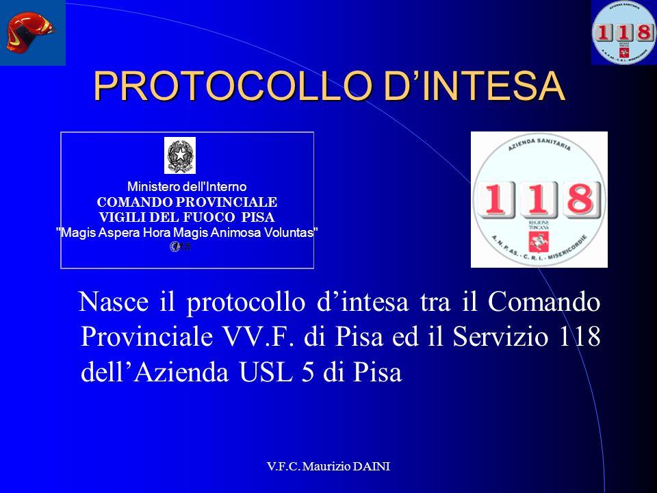 PROTOCOLLO D'INTESA Ministero dell Interno. COMANDO PROVINCIALE VIGILI DEL FUOCO PISA.