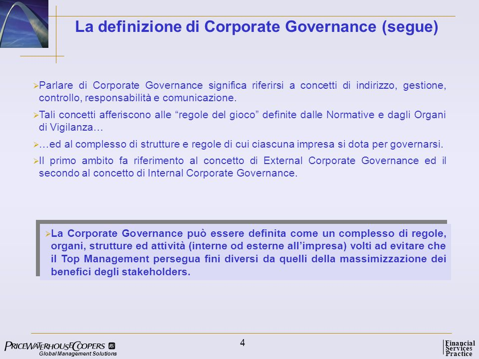 La definizione di Corporate Governance (segue)
