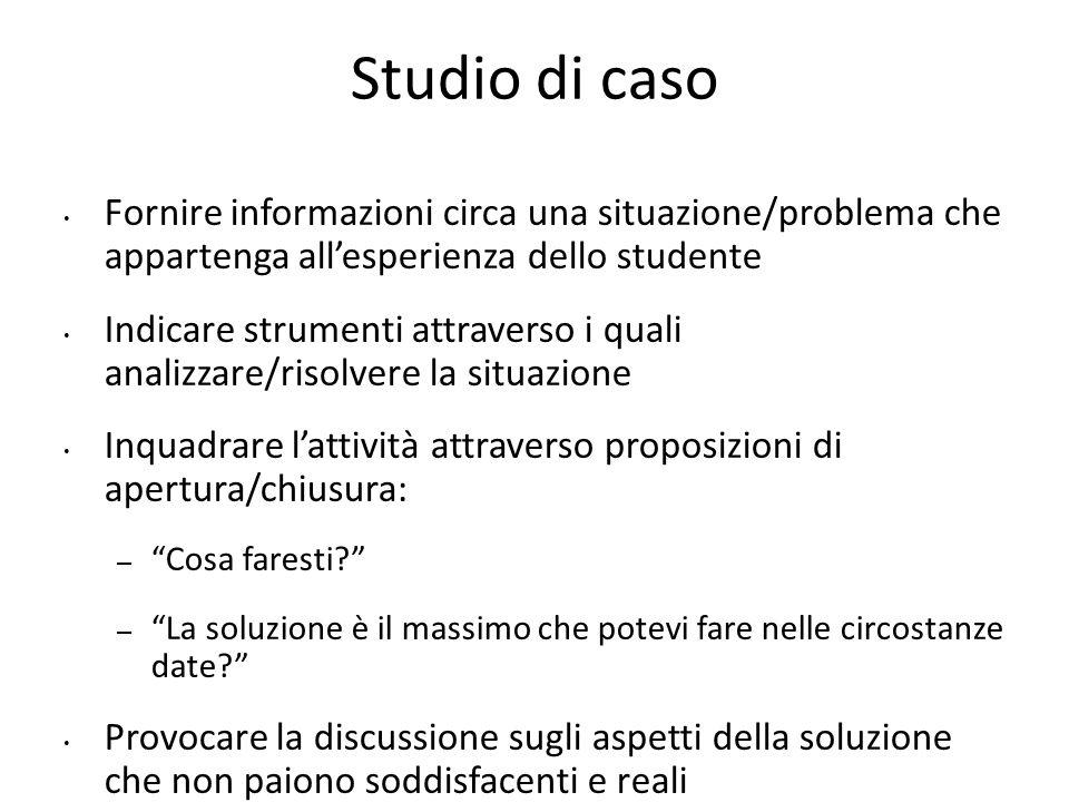 Studio di caso Fornire informazioni circa una situazione/problema che appartenga all'esperienza dello studente.