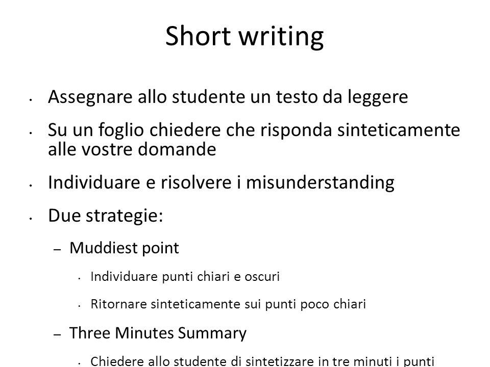 Short writing Assegnare allo studente un testo da leggere