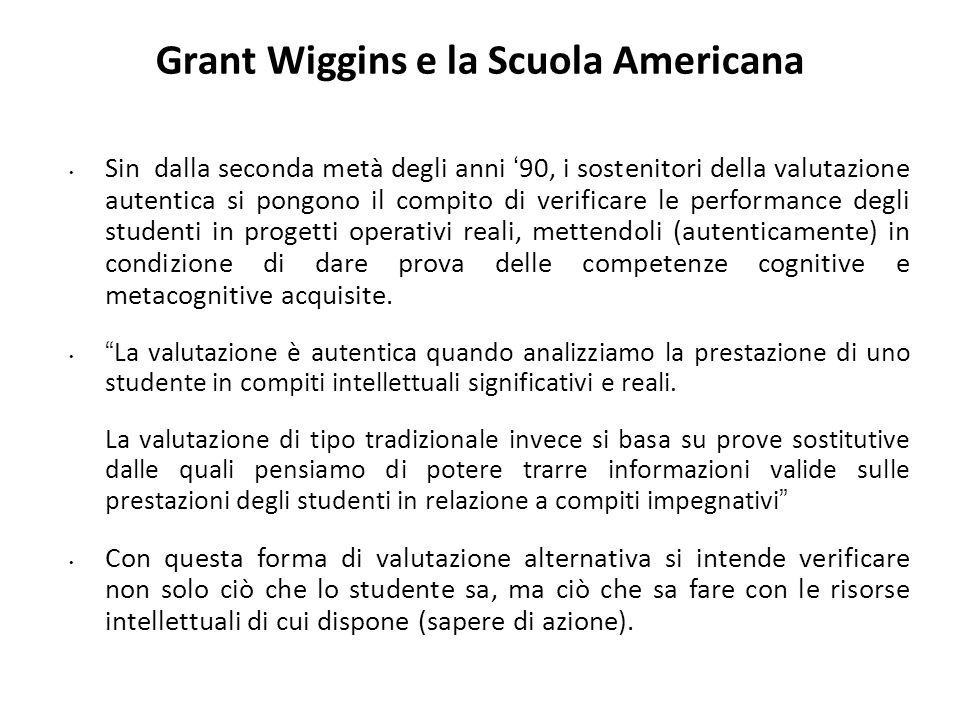 Grant Wiggins e la Scuola Americana