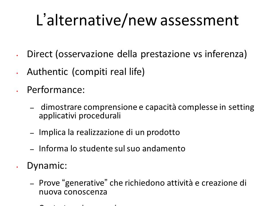 L'alternative/new assessment