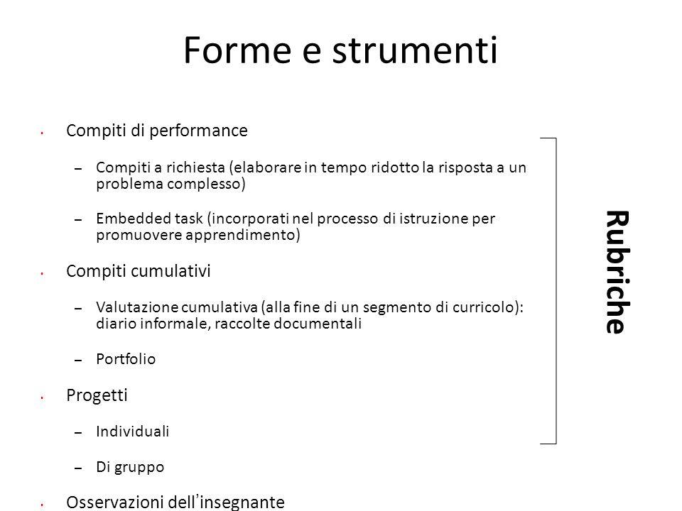 Forme e strumenti Rubriche Compiti di performance Compiti cumulativi
