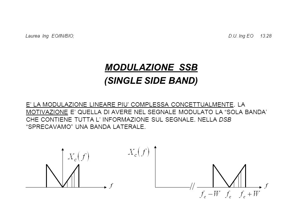 Laurea Ing EO/IN/BIO; D.U. Ing EO 13.28