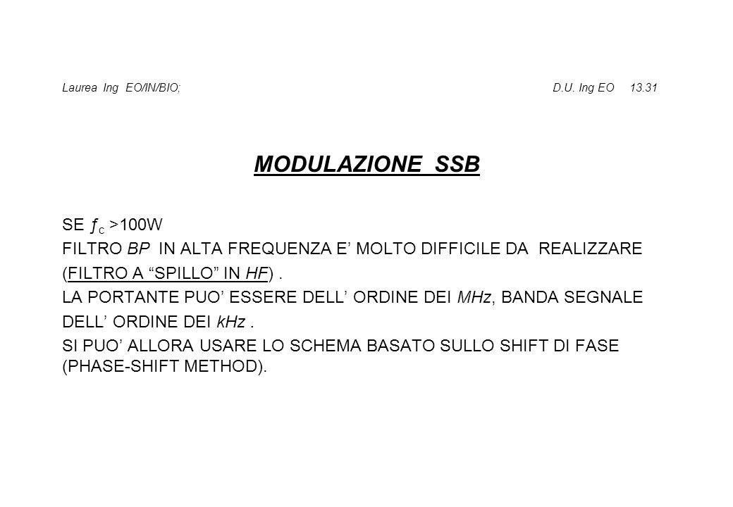 Laurea Ing EO/IN/BIO; D.U. Ing EO 13.31