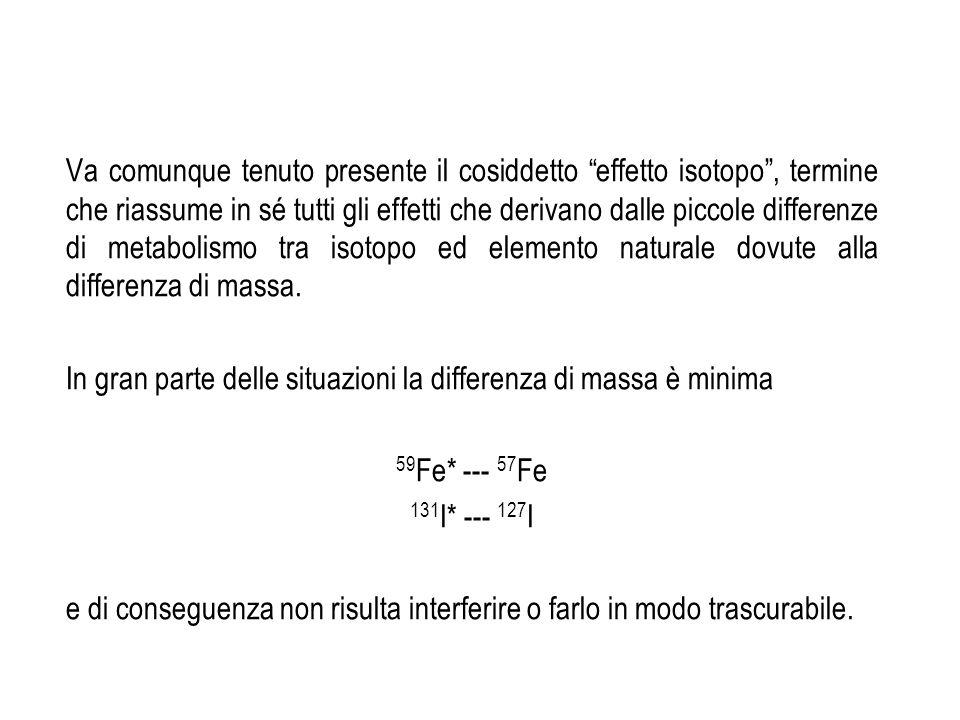 Va comunque tenuto presente il cosiddetto effetto isotopo , termine che riassume in sé tutti gli effetti che derivano dalle piccole differenze di metabolismo tra isotopo ed elemento naturale dovute alla differenza di massa.