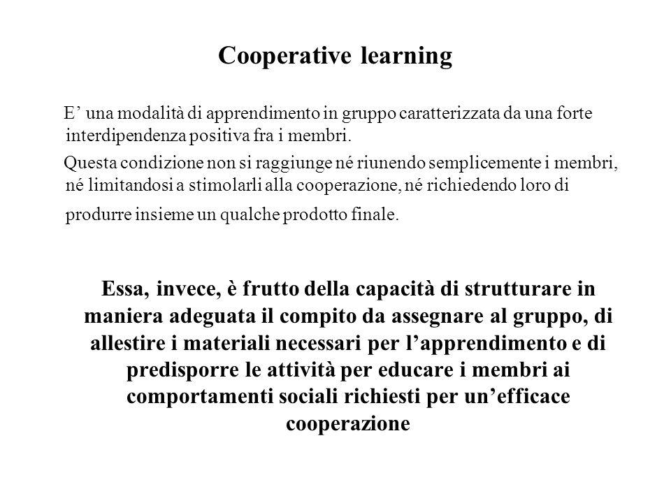 Cooperative learning E' una modalità di apprendimento in gruppo caratterizzata da una forte interdipendenza positiva fra i membri.