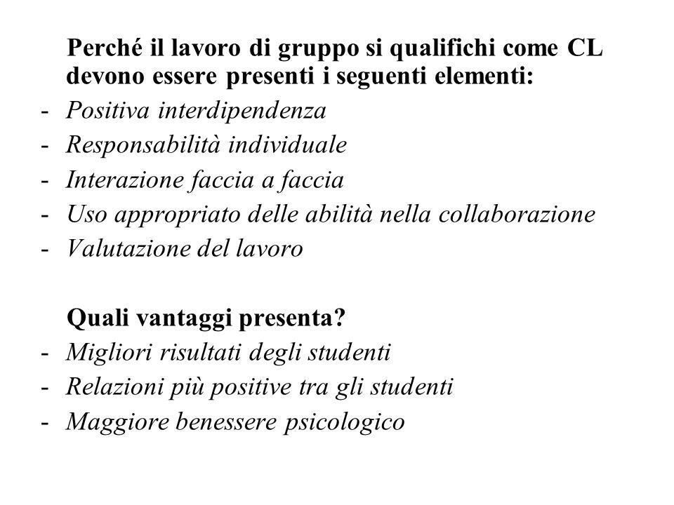 Perché il lavoro di gruppo si qualifichi come CL devono essere presenti i seguenti elementi: