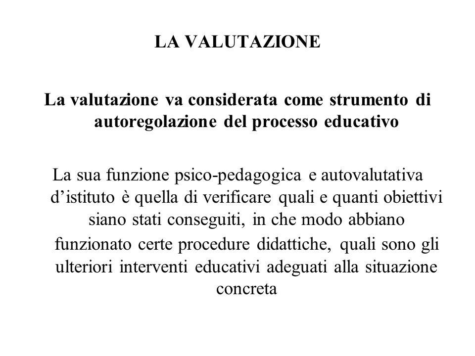 LA VALUTAZIONE La valutazione va considerata come strumento di autoregolazione del processo educativo.