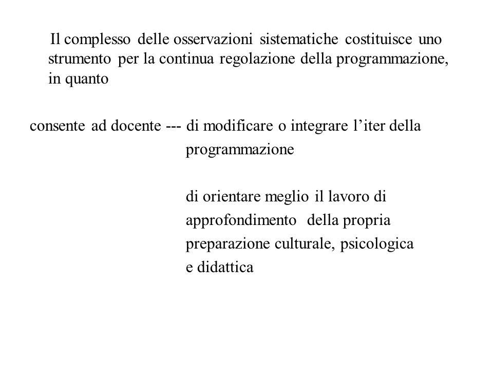 Il complesso delle osservazioni sistematiche costituisce uno strumento per la continua regolazione della programmazione, in quanto
