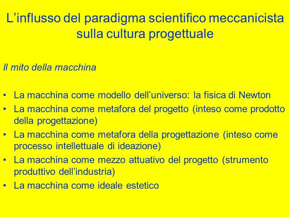 L'influsso del paradigma scientifico meccanicista sulla cultura progettuale