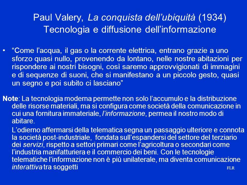Paul Valery, La conquista dell'ubiquità (1934) Tecnologia e diffusione dell'informazione