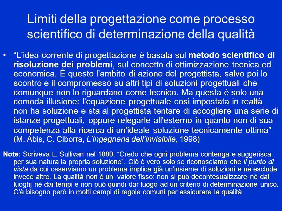 Limiti della progettazione come processo scientifico di determinazione della qualità