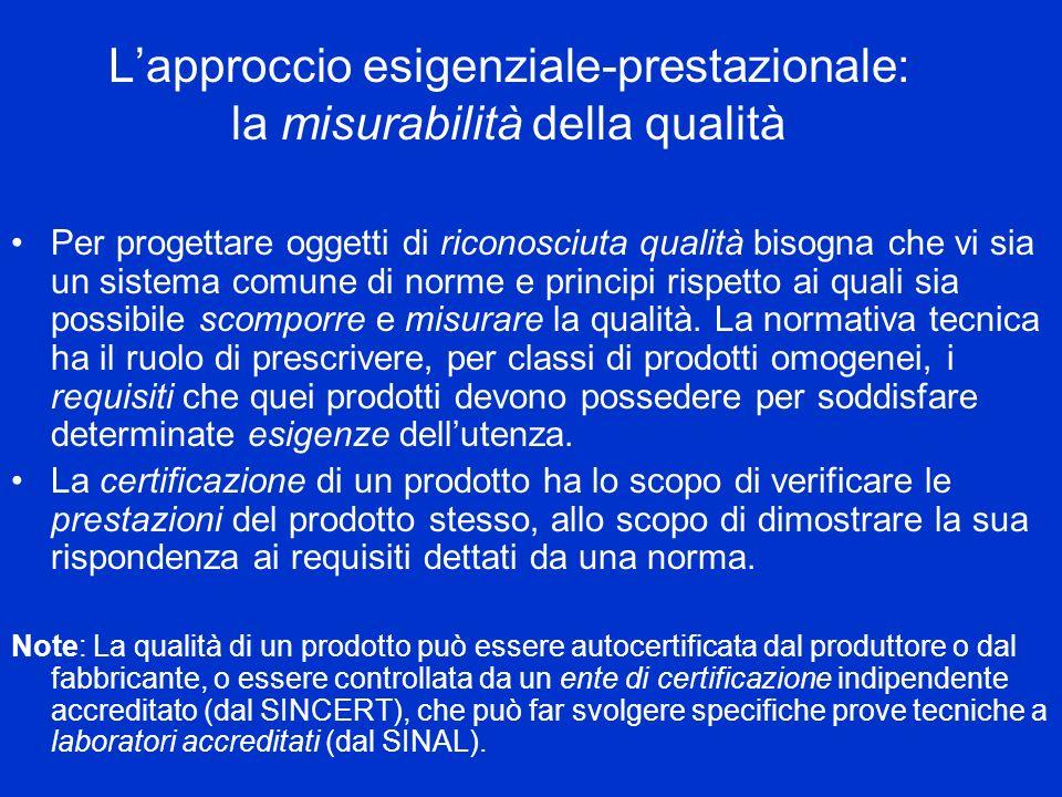 L'approccio esigenziale-prestazionale: la misurabilità della qualità