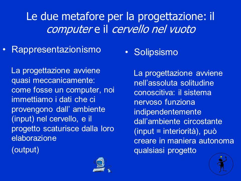 Le due metafore per la progettazione: il computer e il cervello nel vuoto