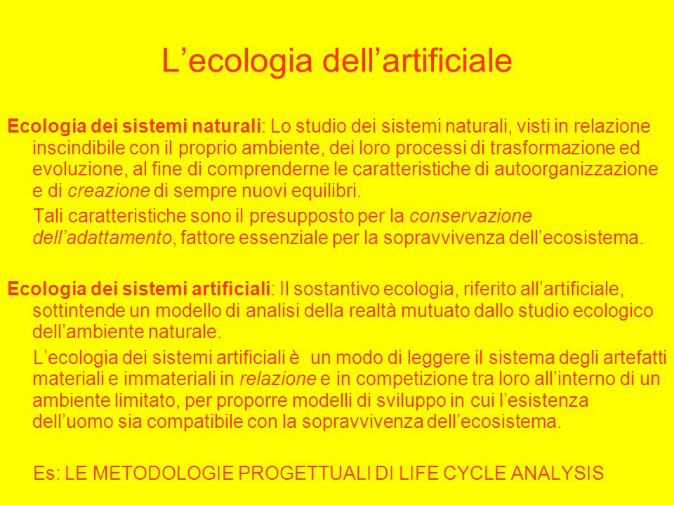 L'ecologia dell'artificiale