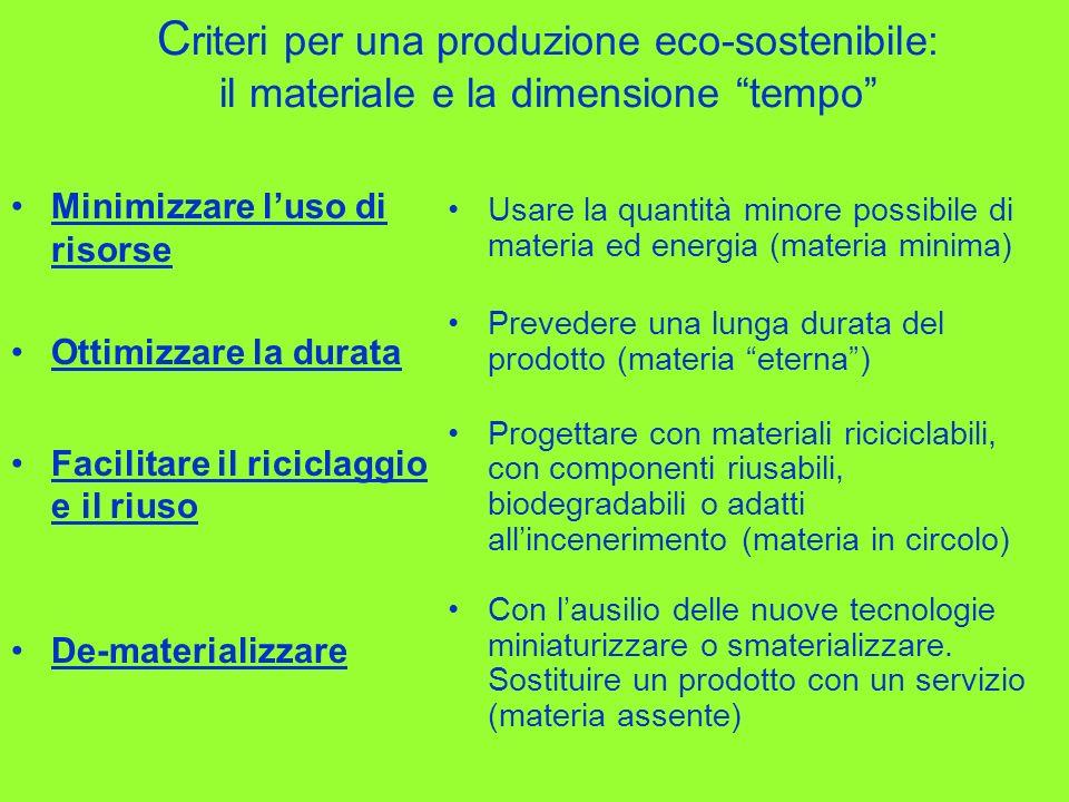 Criteri per una produzione eco-sostenibile: il materiale e la dimensione tempo