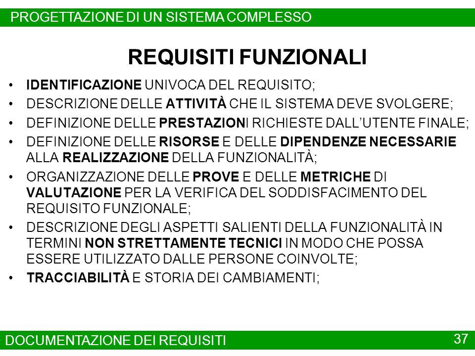 REQUISITI FUNZIONALI PROGETTAZIONE DI UN SISTEMA COMPLESSO