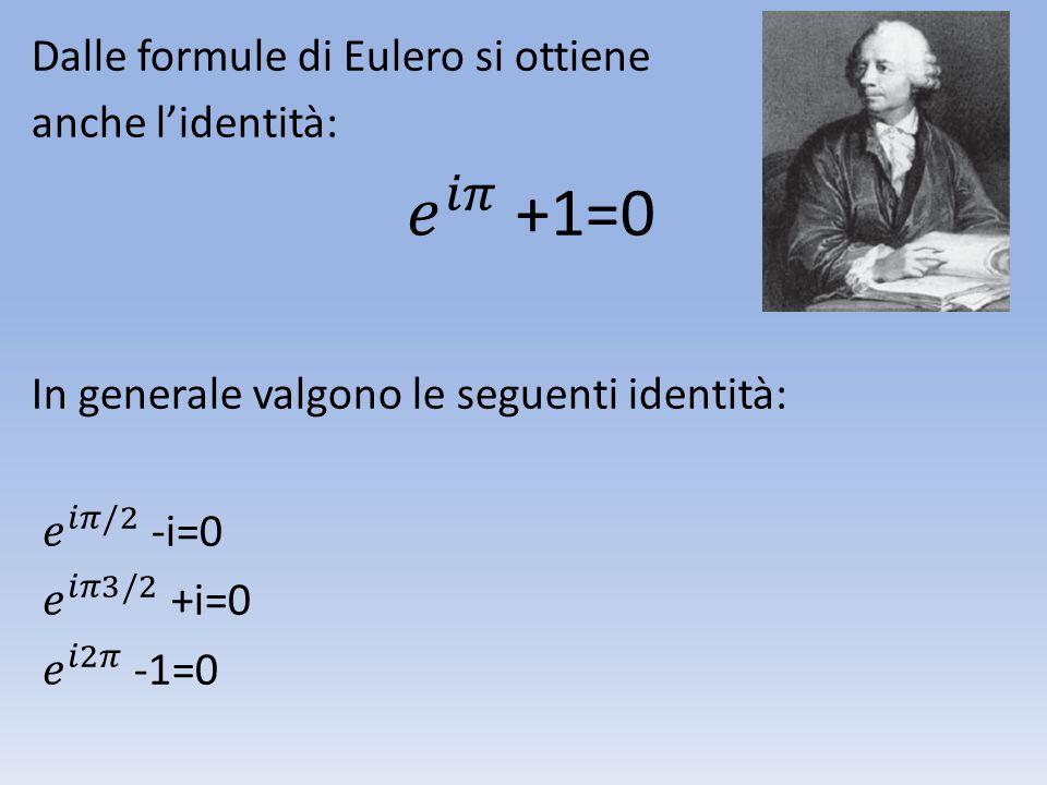 𝑒 𝑖𝜋 +1=0 Dalle formule di Eulero si ottiene anche l'identità: