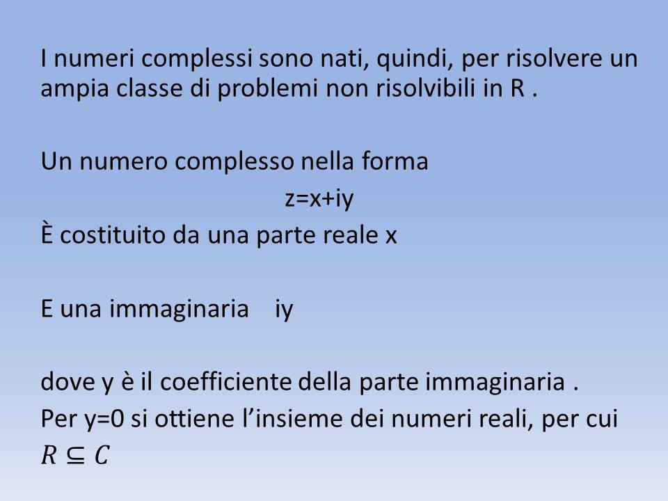 I numeri complessi sono nati, quindi, per risolvere un ampia classe di problemi non risolvibili in R .