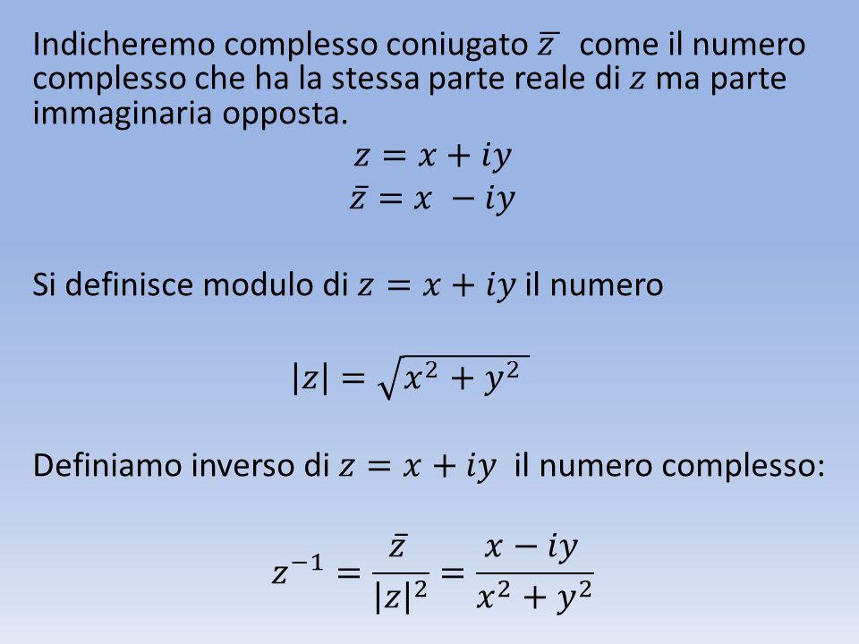 Indicheremo complesso coniugato 𝑧 come il numero complesso che ha la stessa parte reale di 𝑧 ma parte immaginaria opposta.