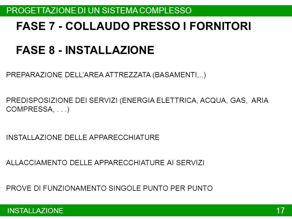 FASE 7 - COLLAUDO PRESSO I FORNITORI