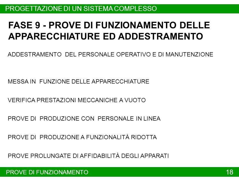 FASE 9 - PROVE DI FUNZIONAMENTO DELLE APPARECCHIATURE ED ADDESTRAMENTO