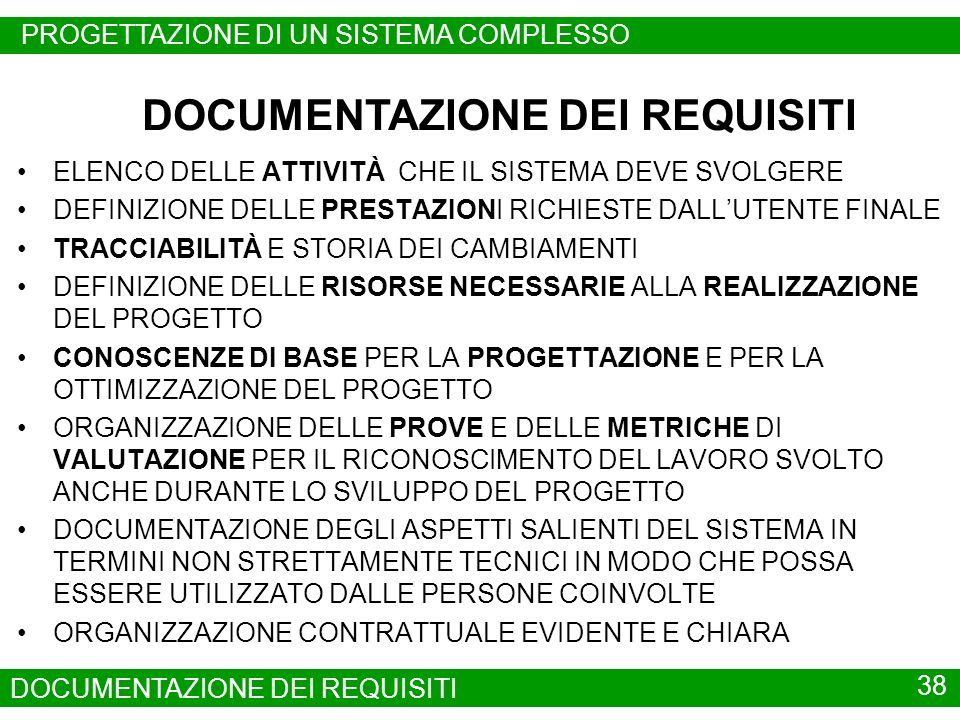 DOCUMENTAZIONE DEI REQUISITI