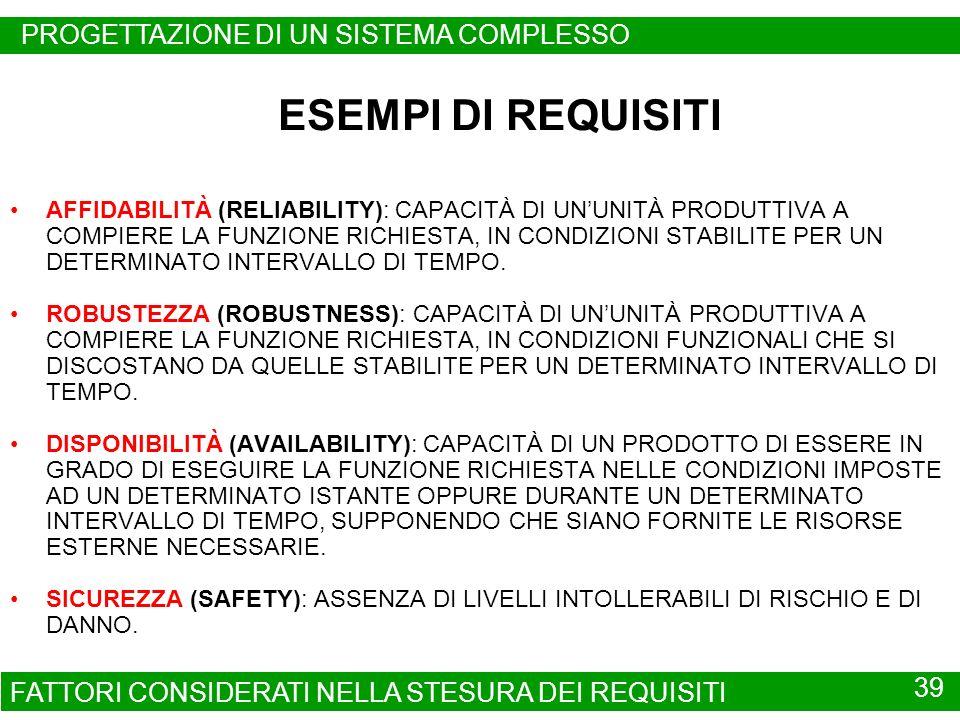 ESEMPI DI REQUISITI PROGETTAZIONE DI UN SISTEMA COMPLESSO 39