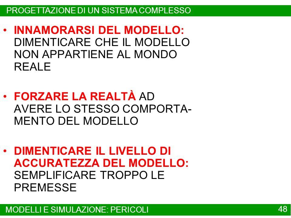 FORZARE LA REALTÀ AD AVERE LO STESSO COMPORTA-MENTO DEL MODELLO